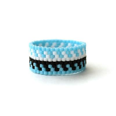купить широкое женское кольцо красивое кольцо из бисера в этно стиле с узором