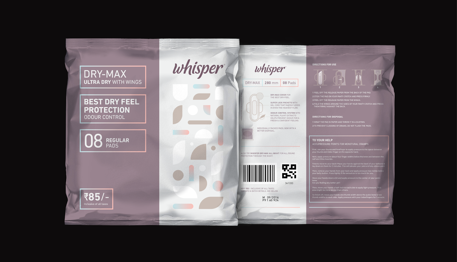 Whisper Sanitary Napkins (Student Project) on Packaging of
