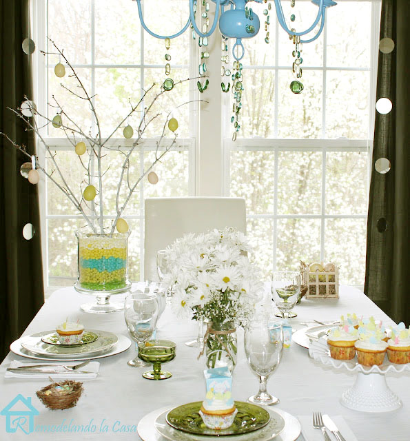Jellybeans, daisies, cupcakes, popsicle stick basket, nests, green plates
