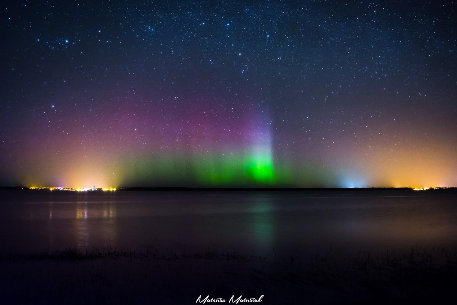 Zorza polarna sfotografowana w noc z 21 na 22 marca 2017 r. Buniewice, zachodniopomorskie. Autor: Mateusz Matusiak