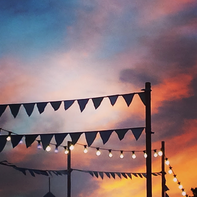 sunset with bunting
