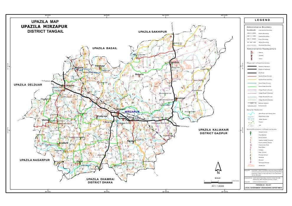 Mirzapur Upazila Map Tangail District Bangladesh