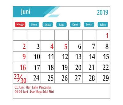 Kalender Juni 2019 - tanggal merah