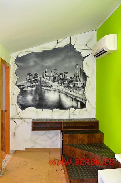 mural pintado en armario