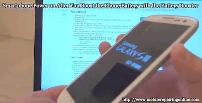 phone power on after boosting the battery with the battery booster
