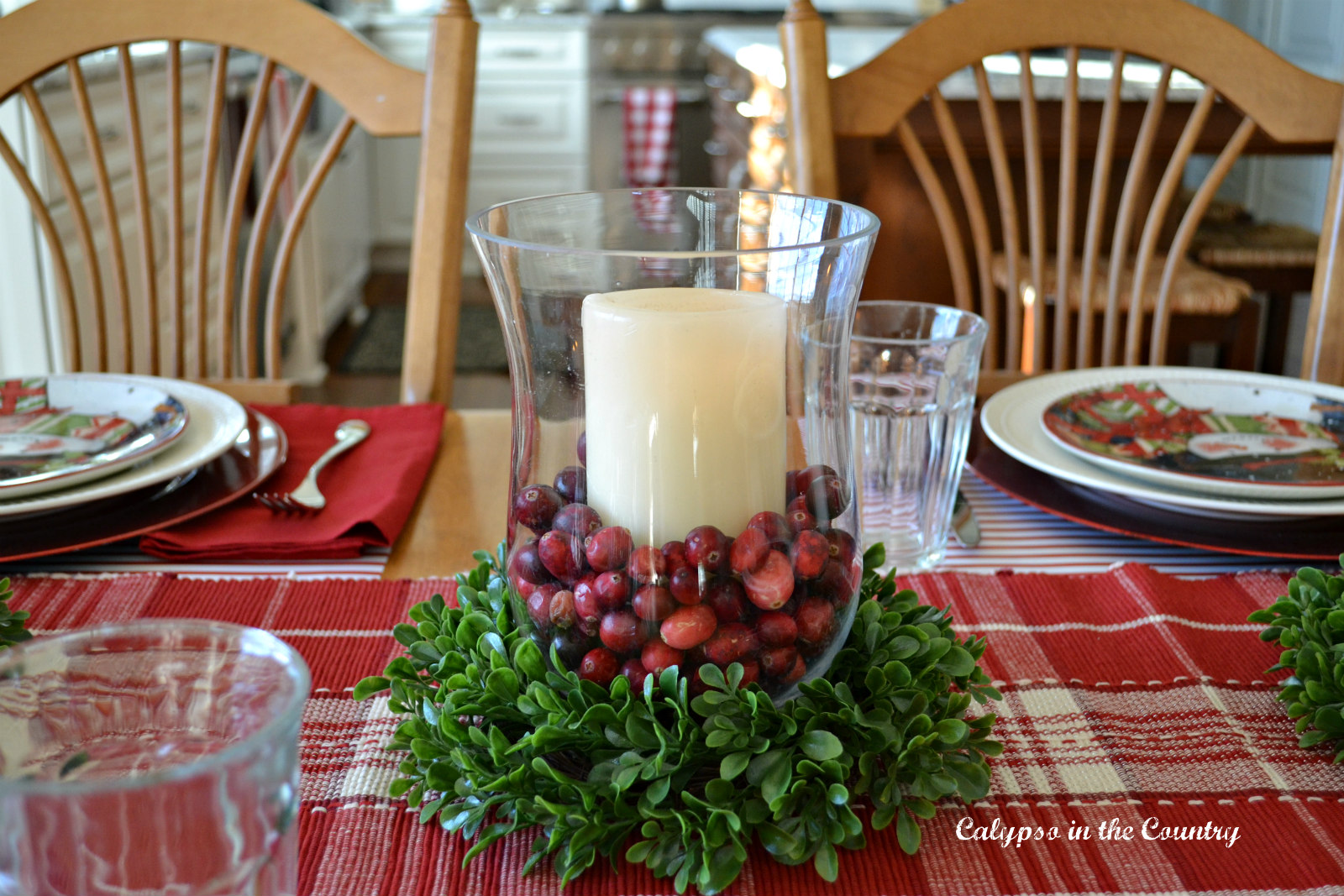 Colorful and Festive Christmas Table in the Kitchen