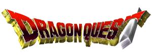 Logotipo de Dragon Quest. Texto en rojo con extrusión en amarillo. La T final es una espada