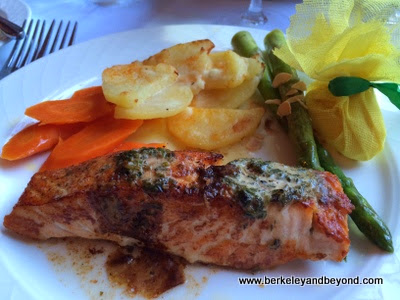 salmon dinner at Cafe Provence at Peterson Village Inn in Solvang, Californi