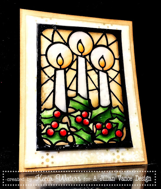 AJVD, Kecia Waters, stained glass, UTEE, candles, Copic markers, Christmas