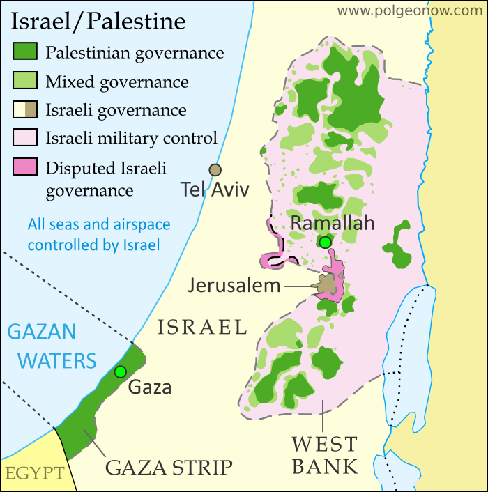 Detailed map of administrative control in Israel and the Palestinian territories (West Bank and Gaza Strip), including official and de facto capitals. Cities: Jerusalem, Ramallah, Gaza, Tel Aviv. Colorblind accessible.