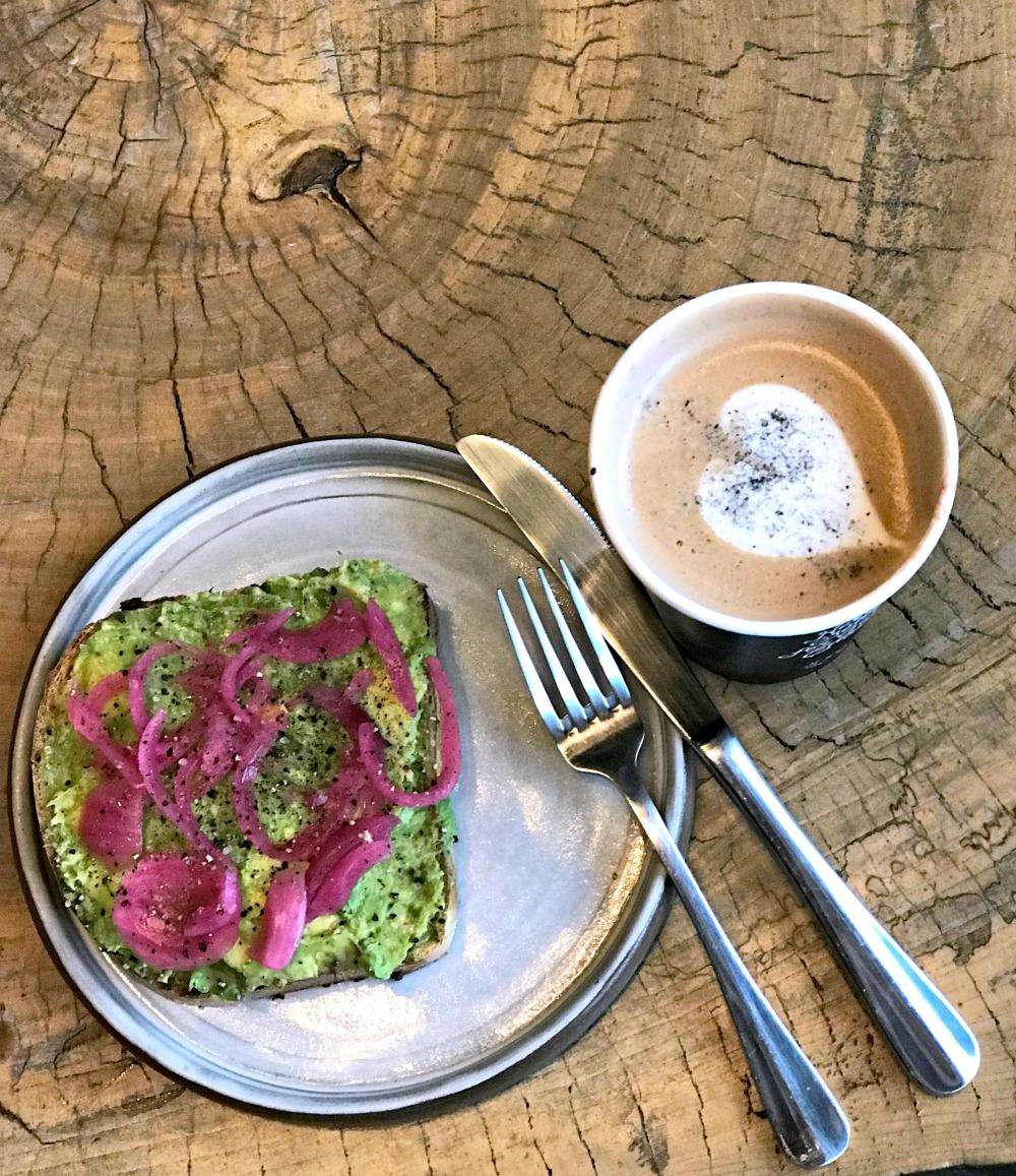 coffee art and avocado toast at onyx coffee lab