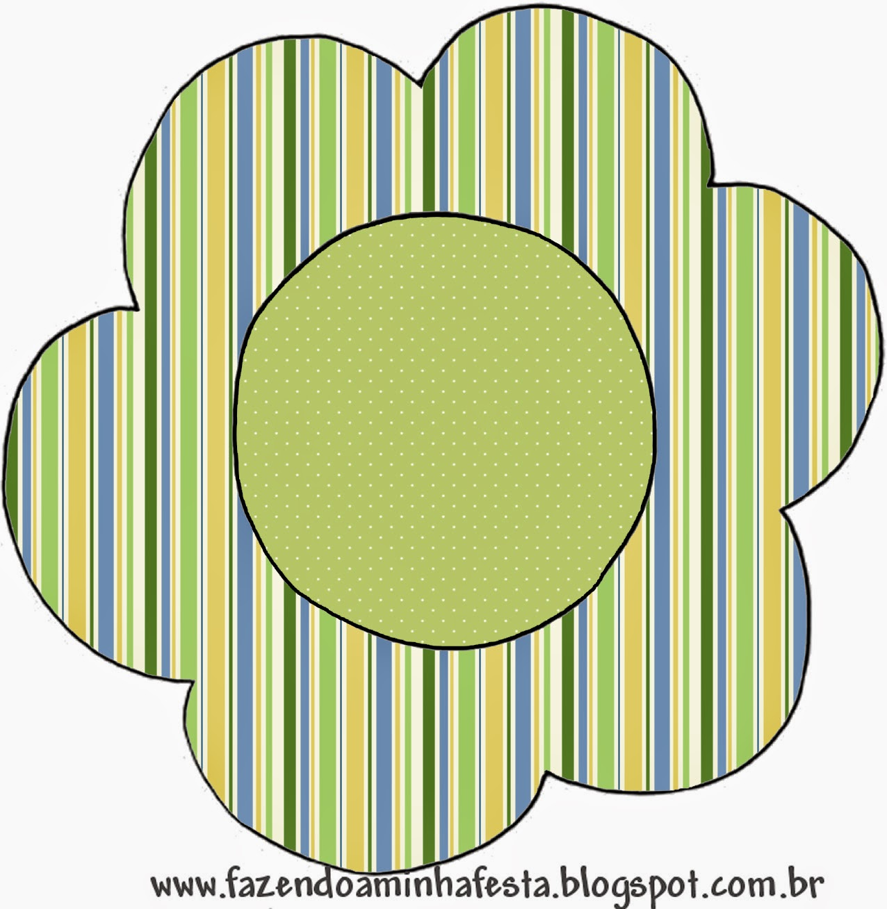 Tarjeta con forma de flor de Verde, Azul y Naranja.