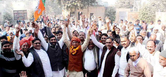 Rajesh Nagar BJP leader in Fajzpur Khadar gave a grand welcome