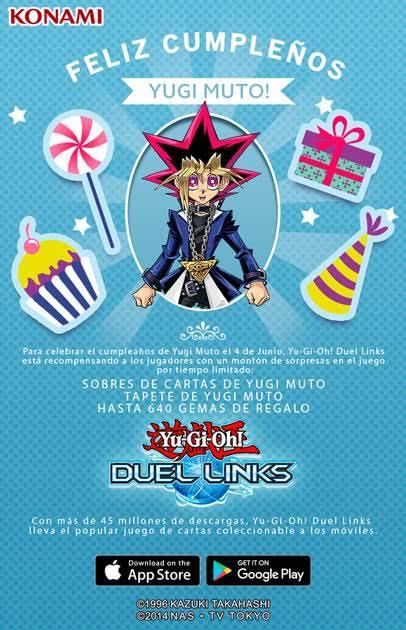 Se anuncia campeonato e-Sports de Yu-gi-oh! Duel Links y regalos por ser el cumpleaños de Yugi