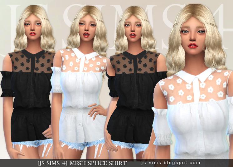 [JS SIMS 3&4] Mesh Splice Shirt