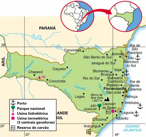 Santa Catarina | Mapas Geográficos de Santa Catarina