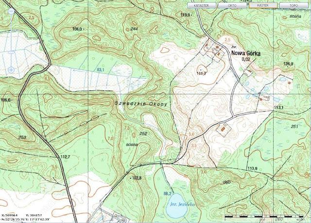 Wczesnośredniowieczne grodzisko pierścieniowate w Kociałkowej Górce - mapa z geoportalu