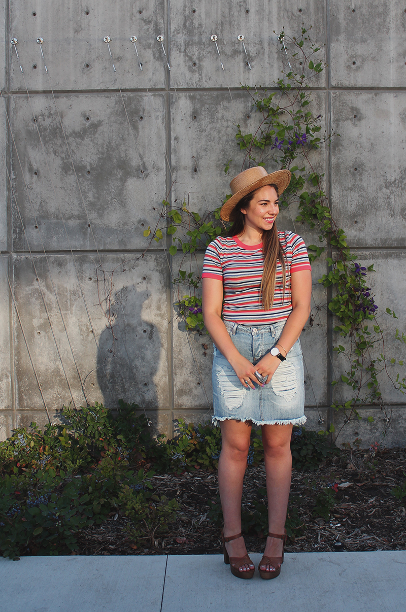 red striped shirt, blue striped shirt, straw hat