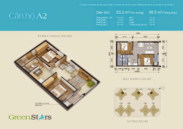 Căn hộ A2 63,2 m2 - Chung cư Green Stars