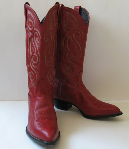 Tony Lama Red Leather Cowboy Boots Womens Size 8