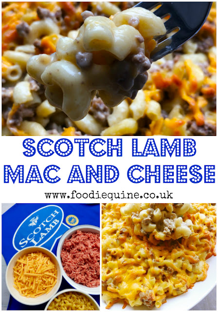www.foodiequine.co.uk Lamb Mac and Cheese is Scottish comfort food at its best and then some! Scotch Lamb PGI stirred through creamy macaroni cheese before being topped with lashings of Scottish cheddar and baked in the oven until ooey and gooey. The best bits of macaroni cheese and shepherd's pie all rolled into one midweek meal which the whole family will enjoy.