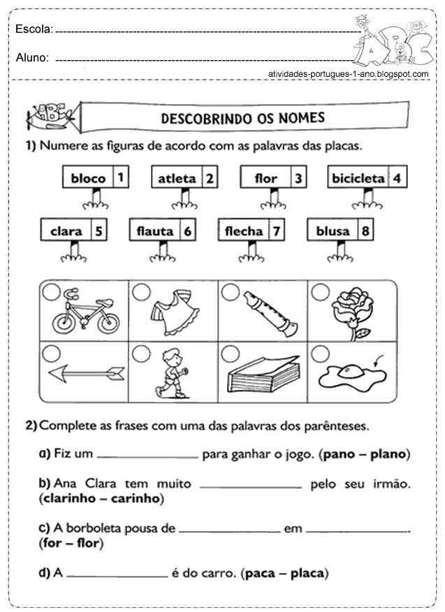 Atividades De Português 1 2 E 3 Ano Só Escola