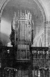 The historic organ at Manchester Cathedral