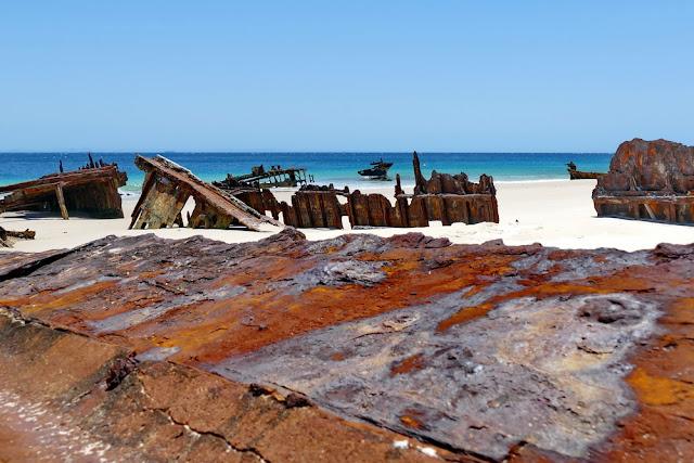 Bulwer Wrecks Moreton Island Wrack Schiffswrack Rost Schiff Strand