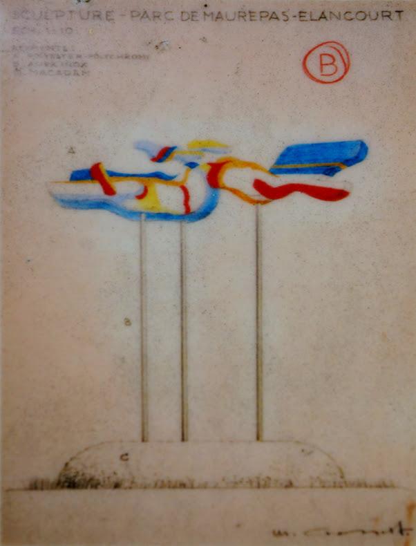 """Saint-Quentin -en-Yvelines - Elancourt - Parc des Coudrays  """"Réflexion d'Espace Discontinu"""", Sculpure polyester, structure acier et plexiglas  Sculpteur: Michael Grossert  Réalisation: 1974"""