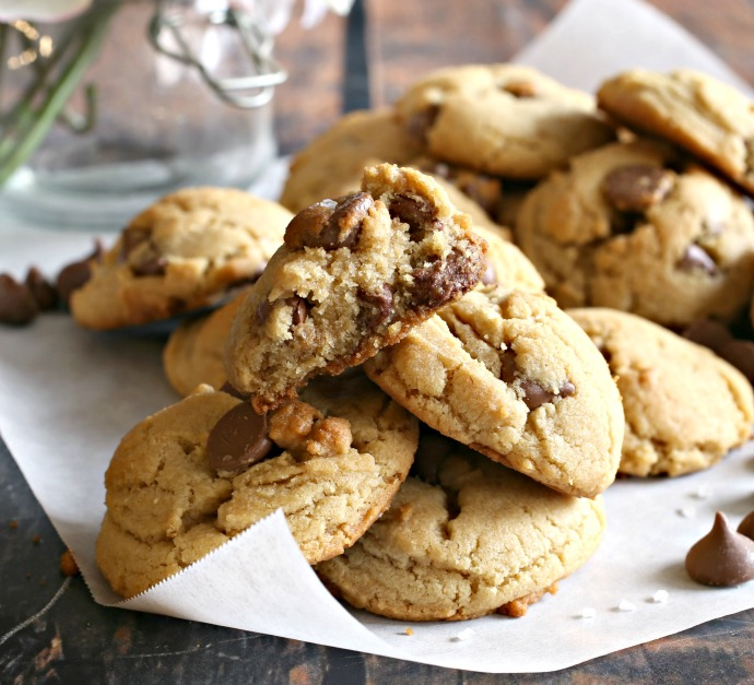 Thick and chewy chocolate chip cookies flavored with tahini.