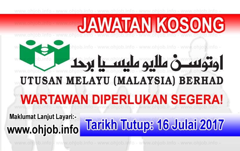 Jawatan Kerja Kosong Utusan Melayu (Malaysia) Berhad logo www.ohjob.info julai 2017