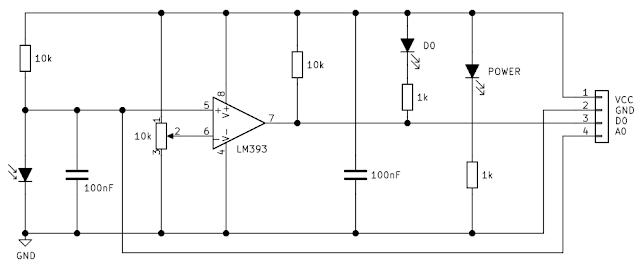 Schemă modul senzor de lumină cu fotodiodă