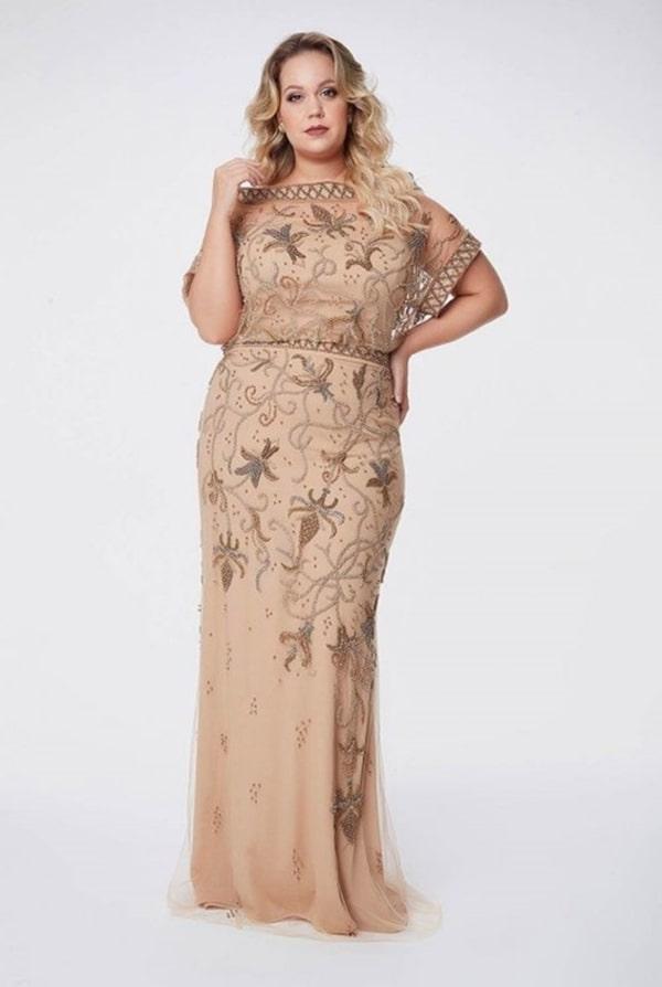 vestido de festa dourado para mãe da noiva ou mãe formanda