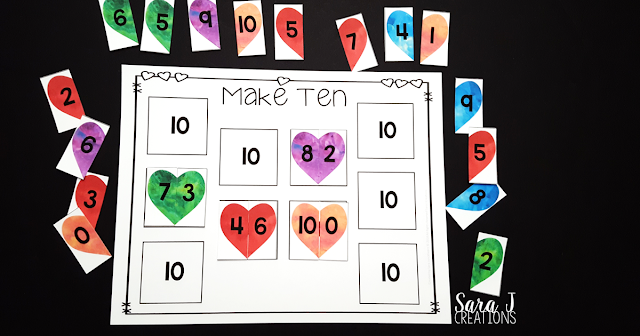 Hearts Make Ten Game is the perfect FREEBIE for practicing combinations of numbers that add up to 10. Ideal for #kindergarten #mathcenters #sarajcreations
