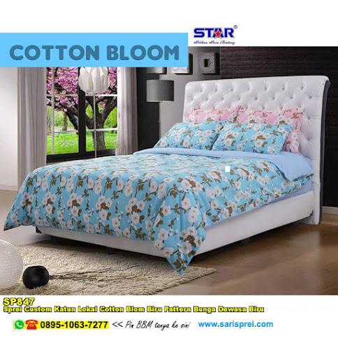 Sprei Custom Katun Lokal Cotton Blom Biru Pattern Bunga Dewasa Biru