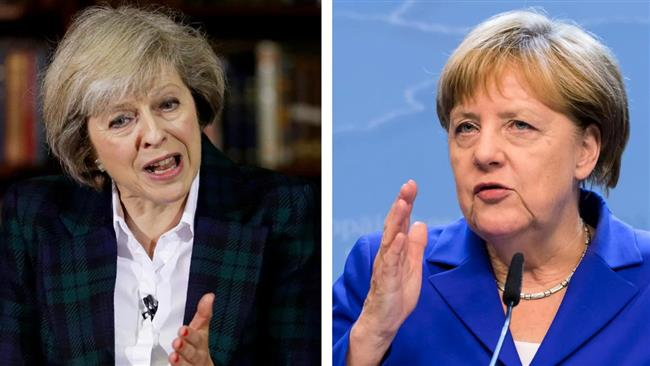 German Chancellor Angela Merkel urges British Prime Minister Theresa May to start Brexit