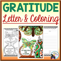 gratitude letters and colorng sheets