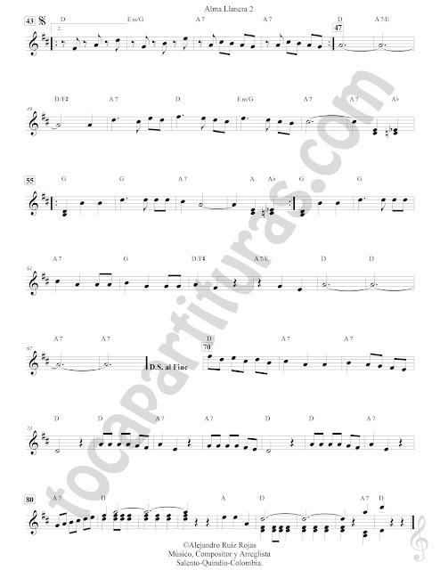 Alma Llanera Joropo de Pedro Elías Gutiérrez Partitura Fácil con Acordes Alma Llanera Sheet Music with Chords partitura 2