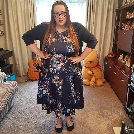 Lady V London Indigo Rose Hepburn plus size Dress