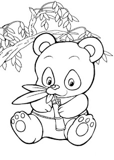 Cute Baby Panda Eat Bamboo Coloring Pages
