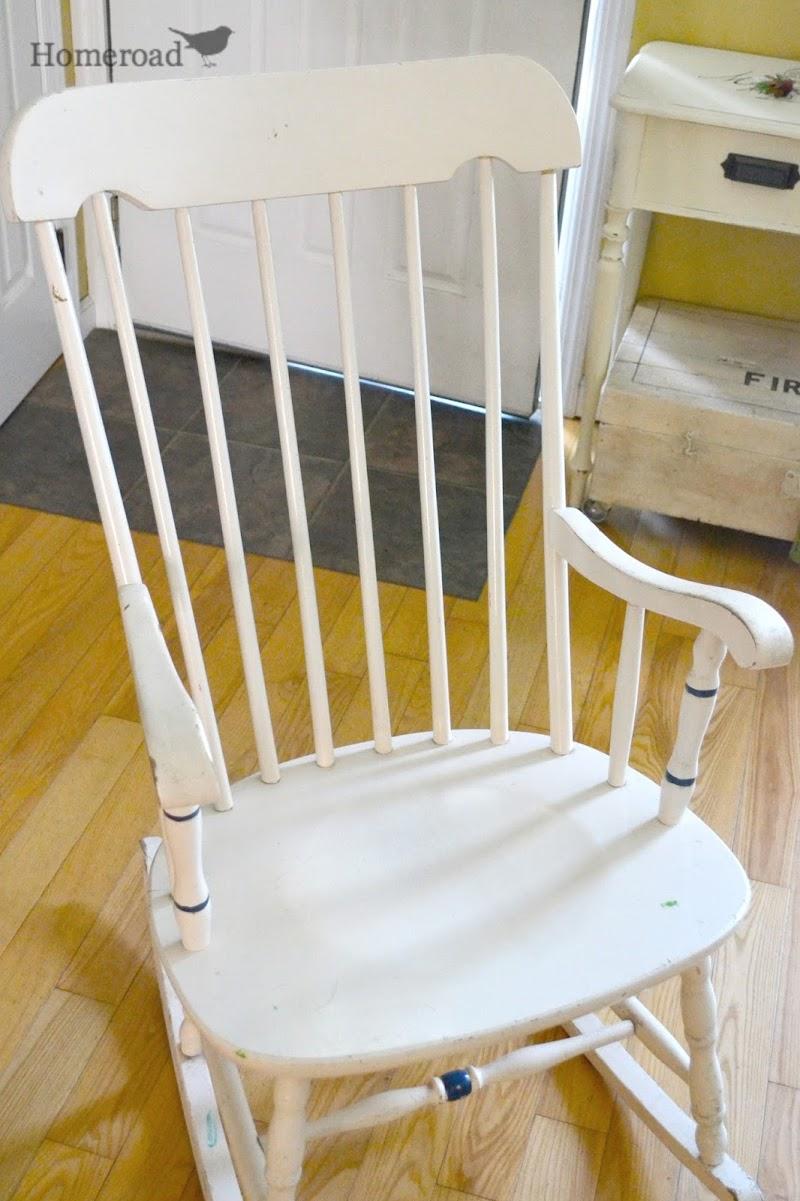 Rocking Chair With Grain Sack Cushion