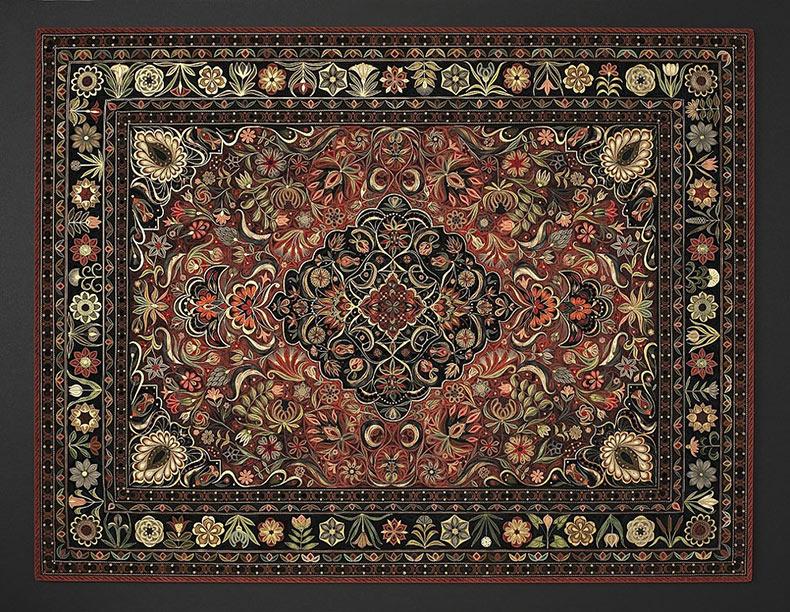 Estas alfombras orientales están hechas de tiras de papel enrollado