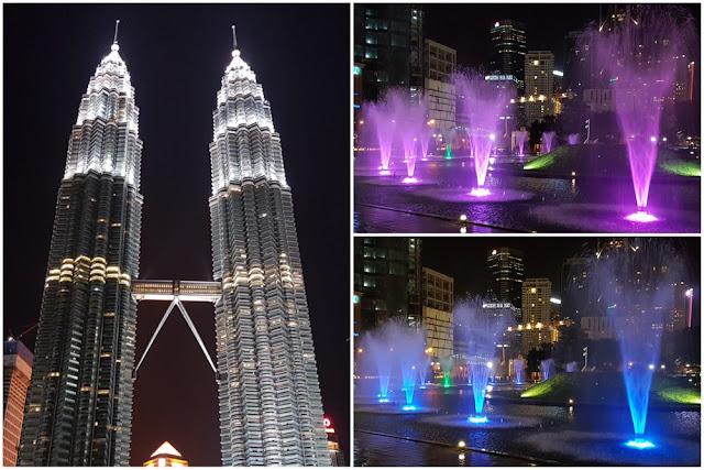 Torres Petronas iluminadas de noche en Kuala Lumpur, Malasia