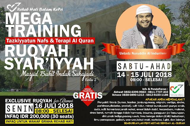 Mega Training Tazkiyyatun Nafs dan Terapi Al Quran Ruqyah Syariyyah Masjid Bukit Indah Sukajadi