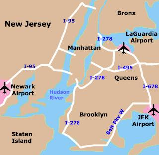 mapa dos aeroportos de Nova York