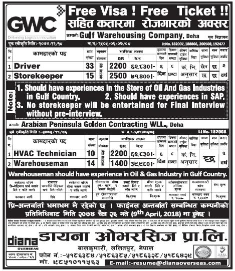 Free Visa Free Ticket Jobs in Doha Qatar for Nepali, Salary Rs 71,400