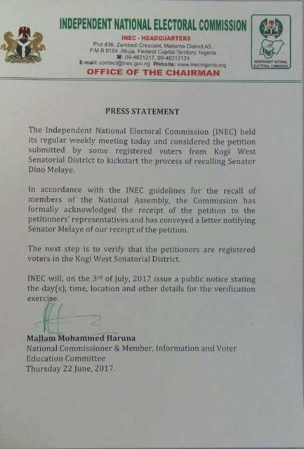 Tension As INEC Officially Notifies Sen. DINO MELAYE of Recall By Kogi Electorates ... See Copy of INEC Press Statement