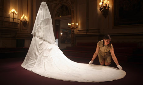 White Gloved Train Caroline De Guitaut Curator Of The Display Lays Out Catherine Ss Cambridge S Wedding Gown