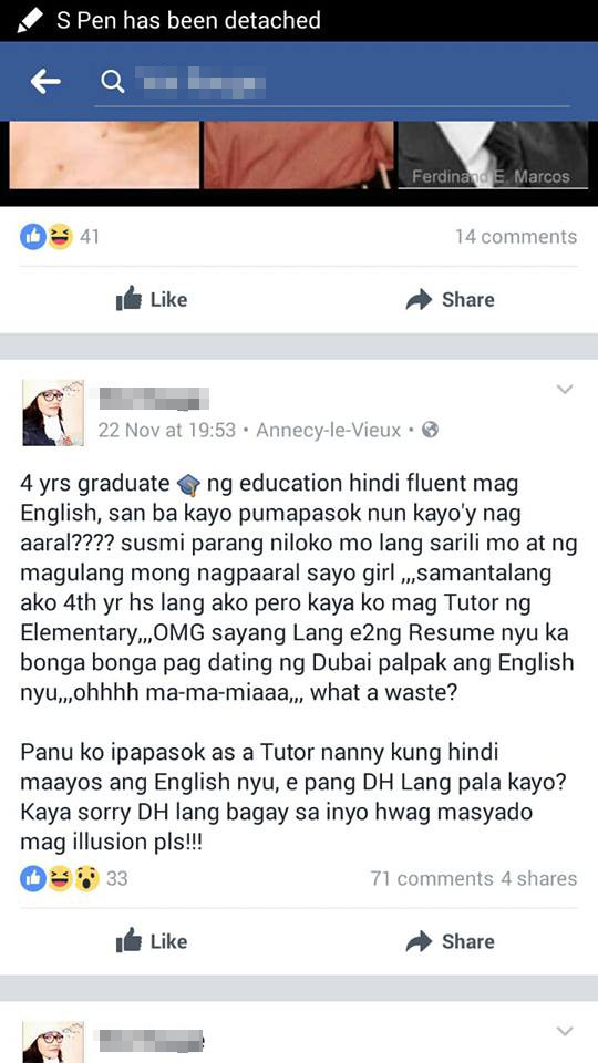 This Female OFW Said That Job Applicants Not Fluent In English Only Fit As Domestic Helpers!