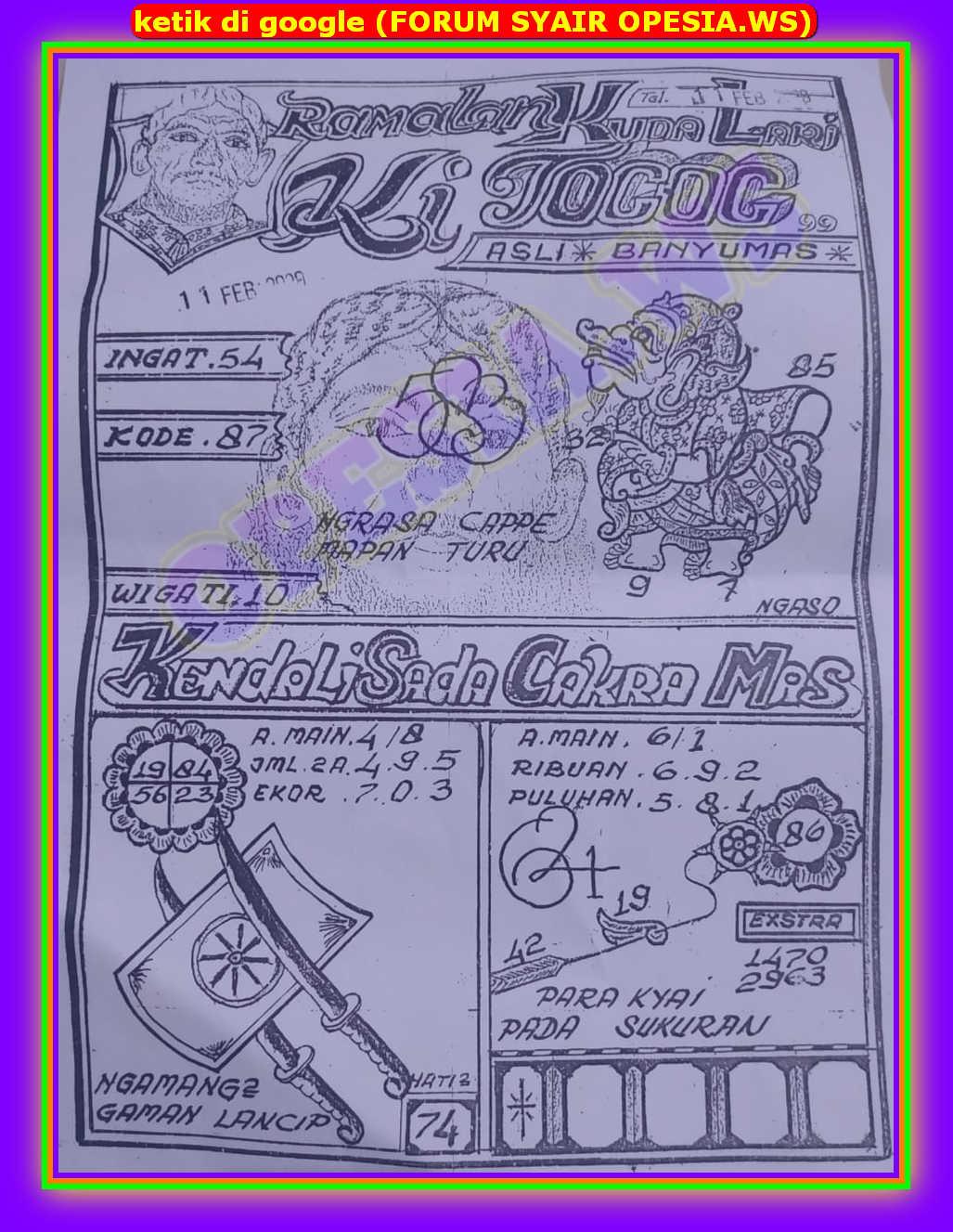 Kode syair Hongkong Selasa 11 Februari 2020 34